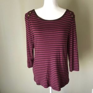 Lilly Pulitzer 3/4 Sleeve Striped Top Large